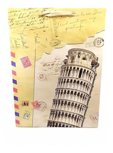 bolsa de regalo en cartón torre italia  con agarradera
