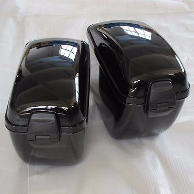 bolsa de sillín duro grande negro de la motocicleta para