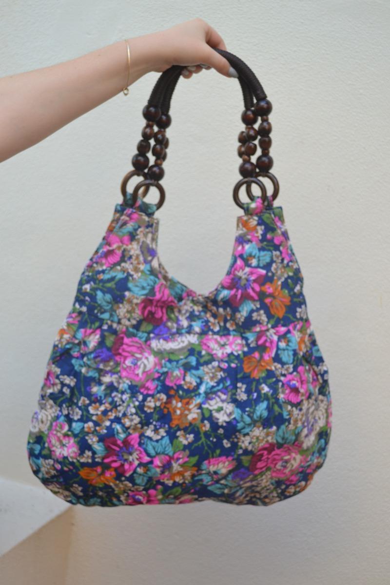 Bolsa De Tecido Com Ziper : Bolsa de tecido floriado com ziper e bot?o press?o r