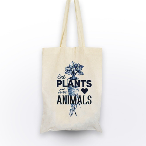 bolsa de tela  eat plants love animals