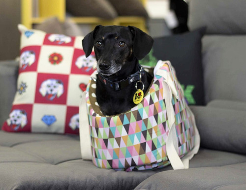 bolsa de transporte de cães estampa diamond