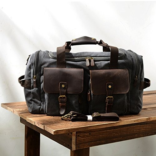 bolsa de viaje de cuero oversized holdalls (gris oscuro)