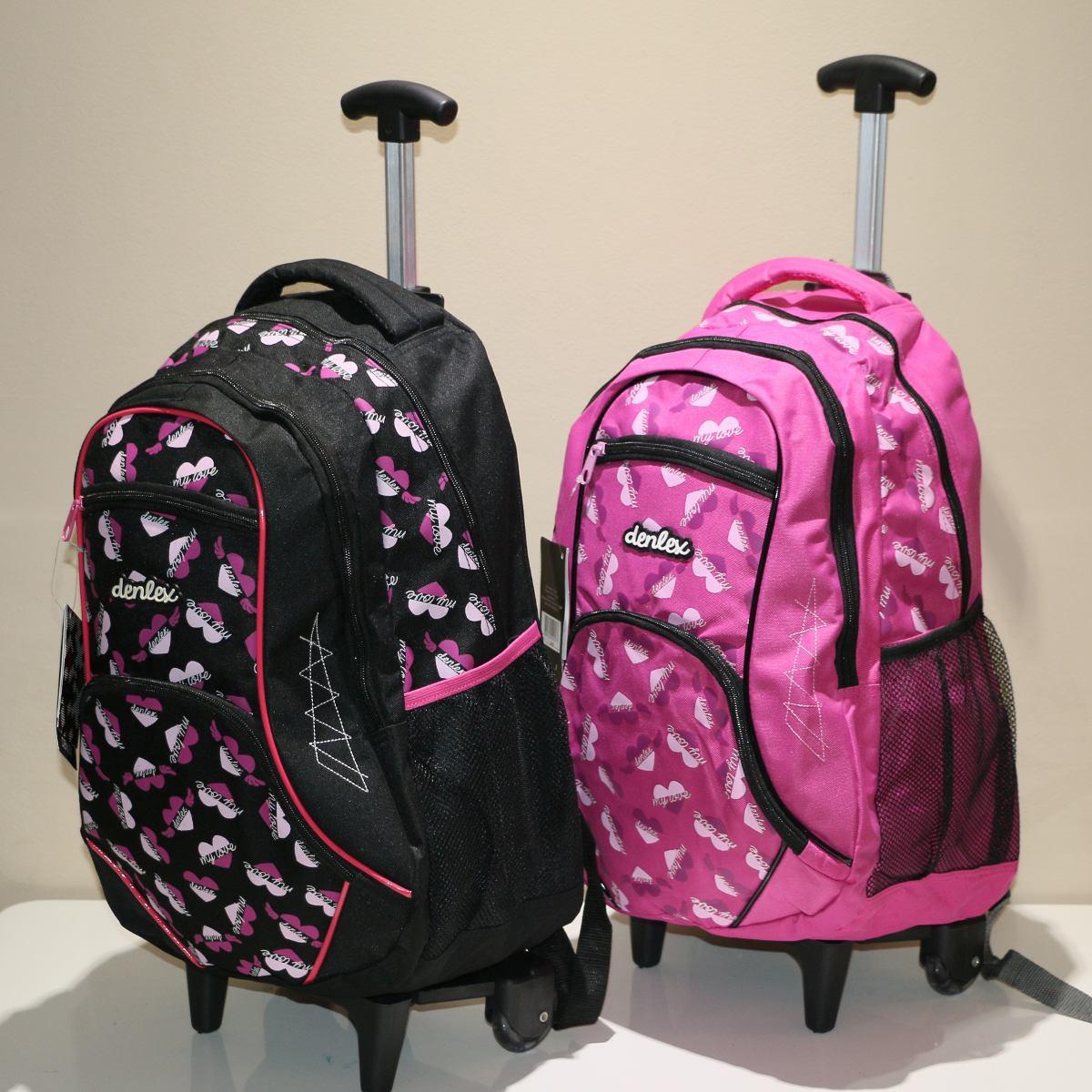 Bolsa Mochila Feminina Rosa : Mochila bolsa juvenil feminina rodinha estampa denlex rosa