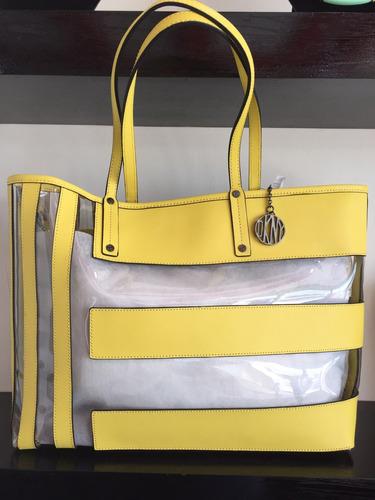 bolsa dkny plastico/piel amarillo original