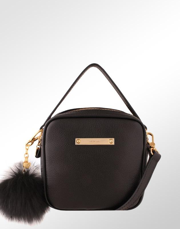 1c0b46ad6 bolsa em couro legítimo minibag feminina luz da lua preto. Carregando zoom.