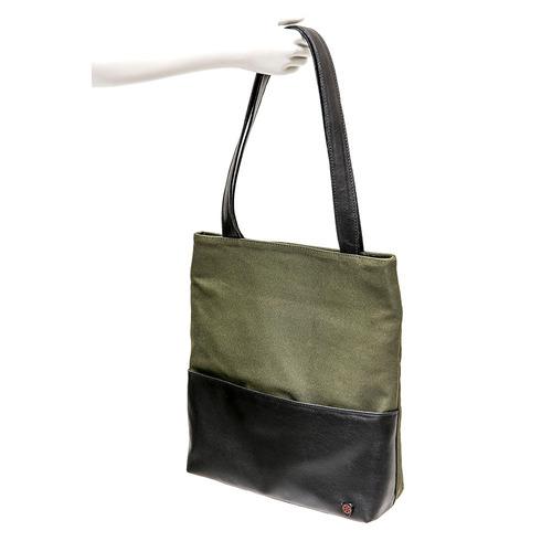 bolsa em lona verde e bolso externo rockcine