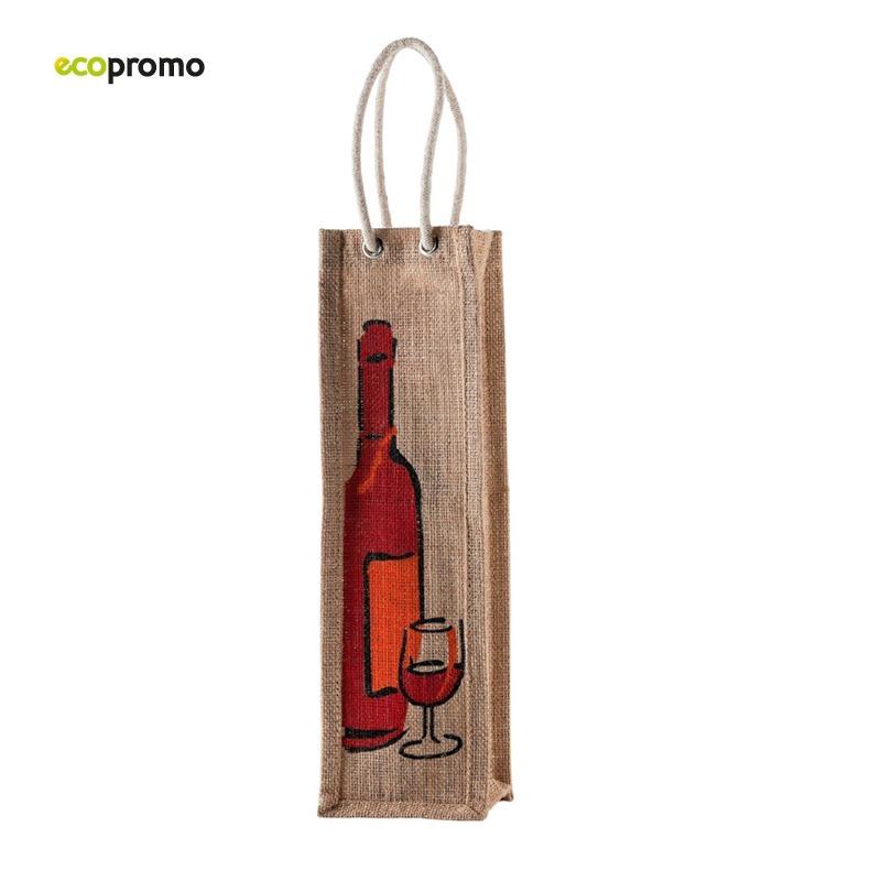 99bb1e043 Descripción. Bolsa en Yute con agarradera de cordón e impresión de botella  ...