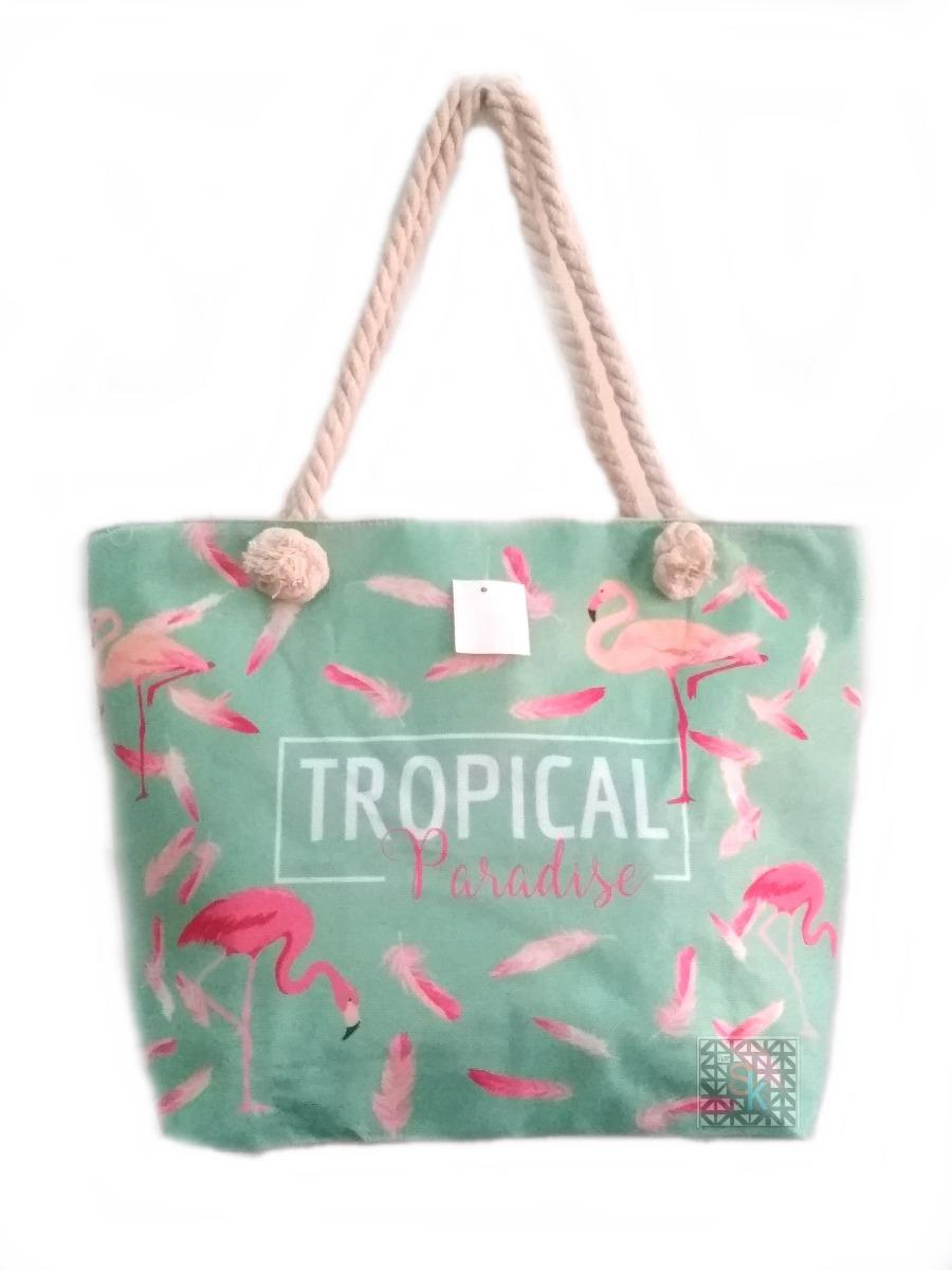 64a2dd889 Bolsa Estampada Lona Corda Flamingo Tropical Praia Piscina - R$ 49,00 em  Mercado Livre