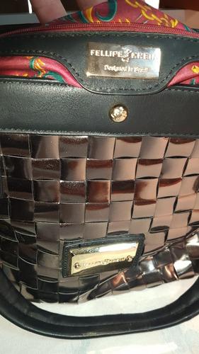 5c72847b8 Bolsa Fellipe Krein Original - Couro - Prateada - R$ 400,00 em ...