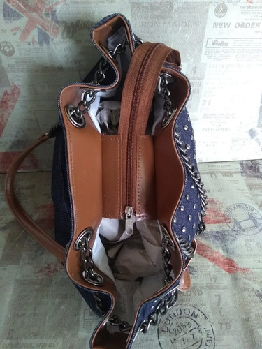 af303b77f bolsa feminina mk saco jeans com spikes e alça em corrente. Carregando  zoom... bolsa feminina alça