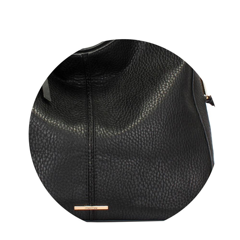 6e80c9c6a Bolsa Hobo Feminina Grande Preta Alça Transversal Mormaii - R$ 297 ...