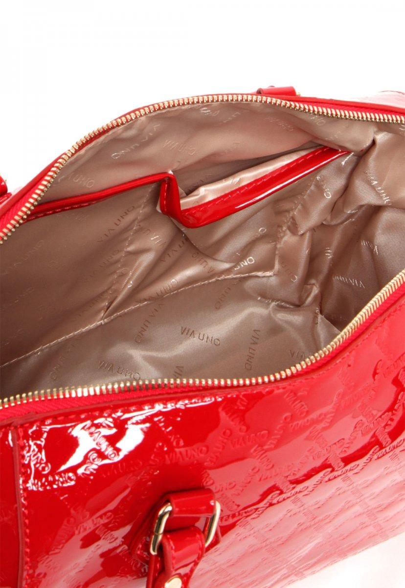f14ddda1aa bolsa feminina baú via uno monograma vermelha rv-vu2141. Carregando zoom.