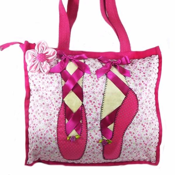 Bolsa Feminina Em Tecido : Bolsa de tecido pink bailarina feminina