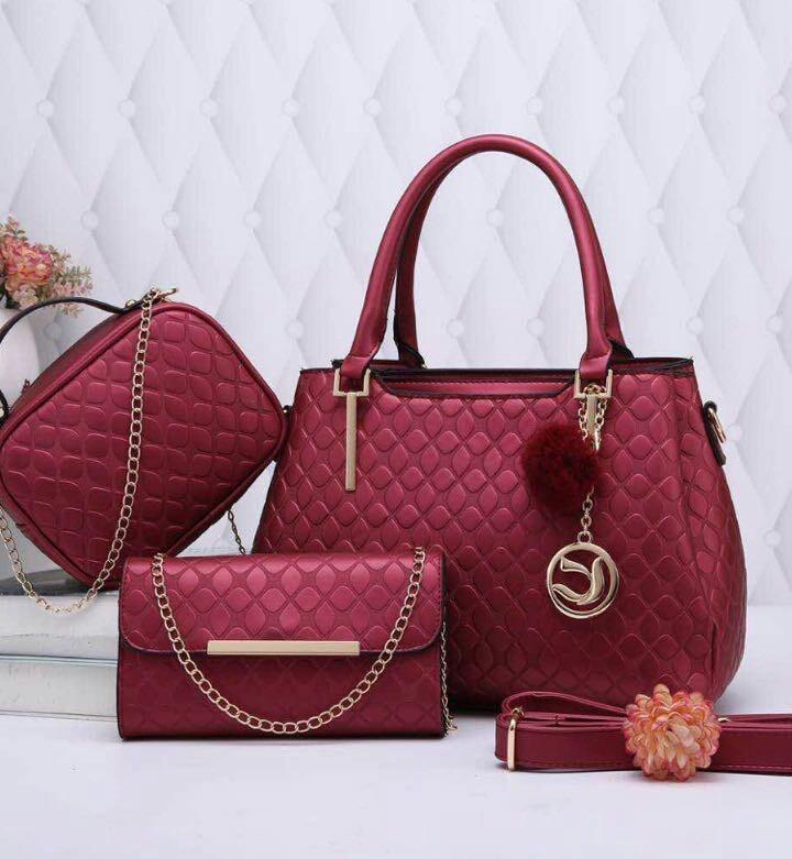 8a39497dc Kit Bolsa Feminina 3 Bolsas Linda Elegante Com Chaveiro - R$ 219,90 ...