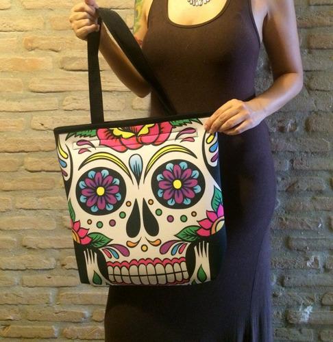 bolsa feminina caveira colorida