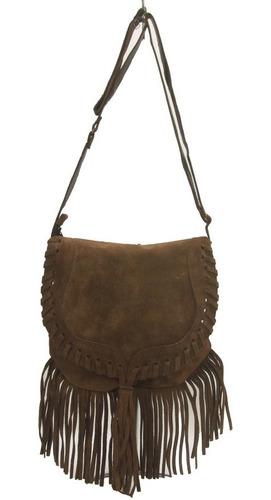 bolsa feminina com alça transversal couro natural com franja