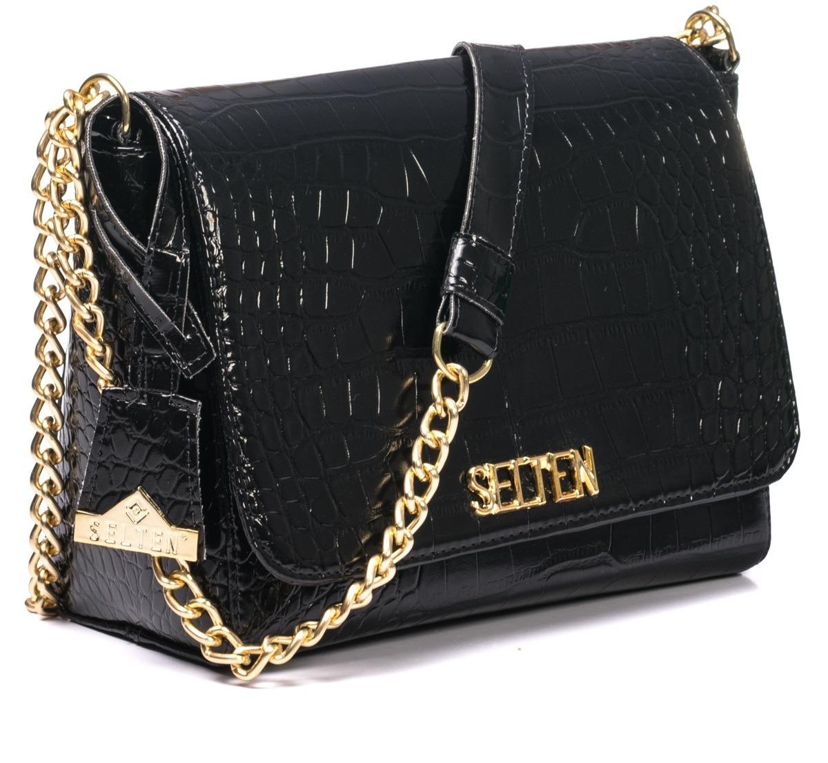 7e69fdfc0 bolsa feminina corrente dourada preta ombro verniz couro. Carregando zoom.