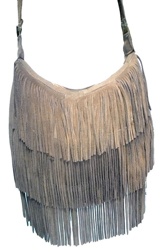 bolsa feminina de franja com alça transversal bege