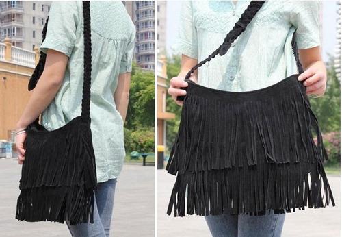 bolsa feminina  de franjas  camurça ecológica pronta entrega