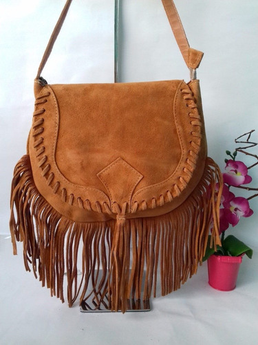 bolsa feminina de franjas tiracolo transversal couro camurça