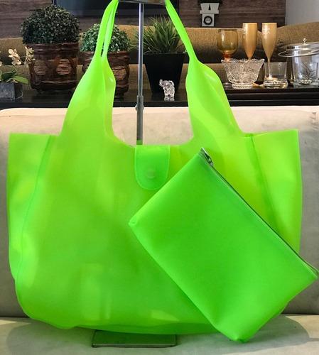 bolsa feminina de silicone praia c/ necessaire  frete gratis