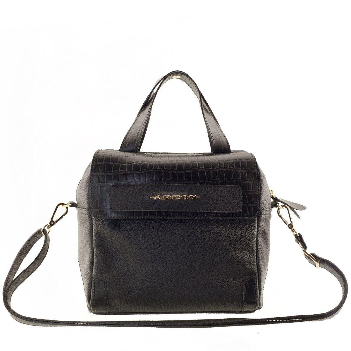 474fb3357 Bolsa Feminina Em Couro Preto Fosco - R$ 370,84 em Mercado Livre