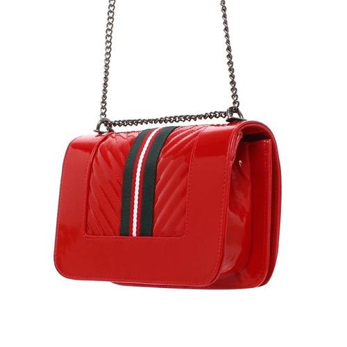 bolsa feminina em verniz listras esportiva moda 10387999