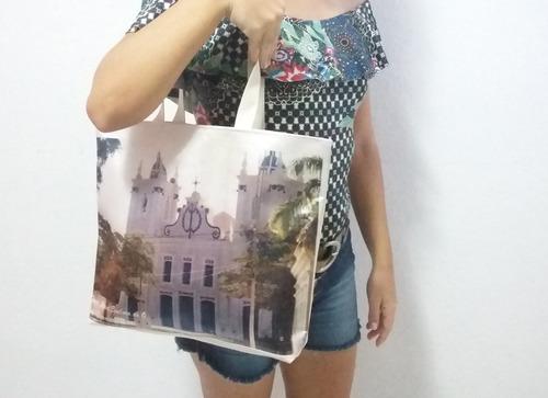 bolsa feminina estampa personalizada aplique em cetim