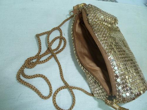 bolsa feminina festa dourada com cordão linda
