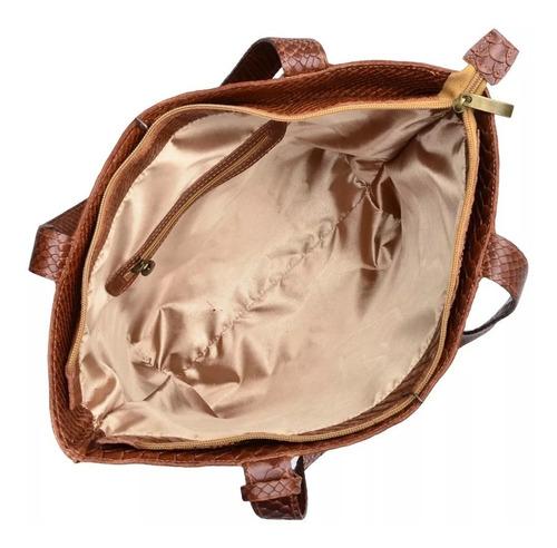 bolsa feminina grande couro legitimo croco brinde bolsa mini