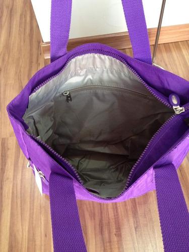 bolsa feminina grande ombro nylon + carteira grande vivatti