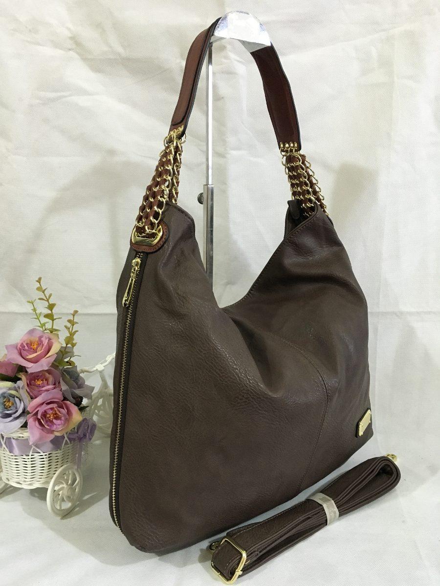 Bolsa De Couro Tipo Saco : Bolsa feminina grande tipo saco al?a corrente pronto