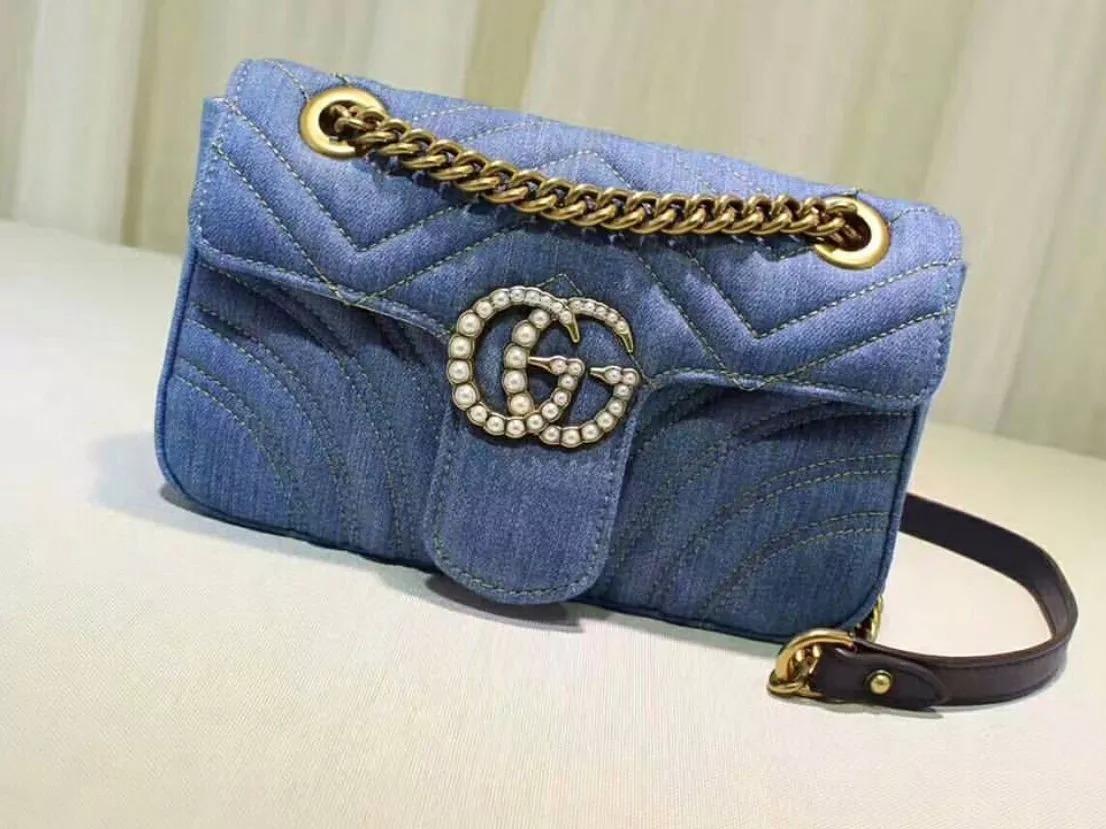 c7e51880526 bolsa feminina gucci gg marmont jeans - pronta entrega. Carregando zoom.