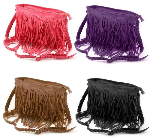 bolsa feminina importada preta com franja