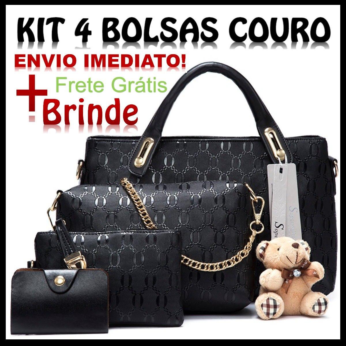 18ec75bed bolsa feminina kit 4 pecas couro pu + brinde envio imediato. Carregando  zoom.