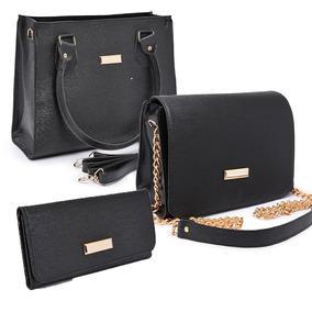 488bae4b7 Bolsa Feminina Kit Com 3 Bolsas Grande Pequena Bau Carteira. 5 cores