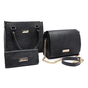 9cbf6540c Bolsa Feminina Kit Com 3 Bolsas Promoção Queima De Estoque