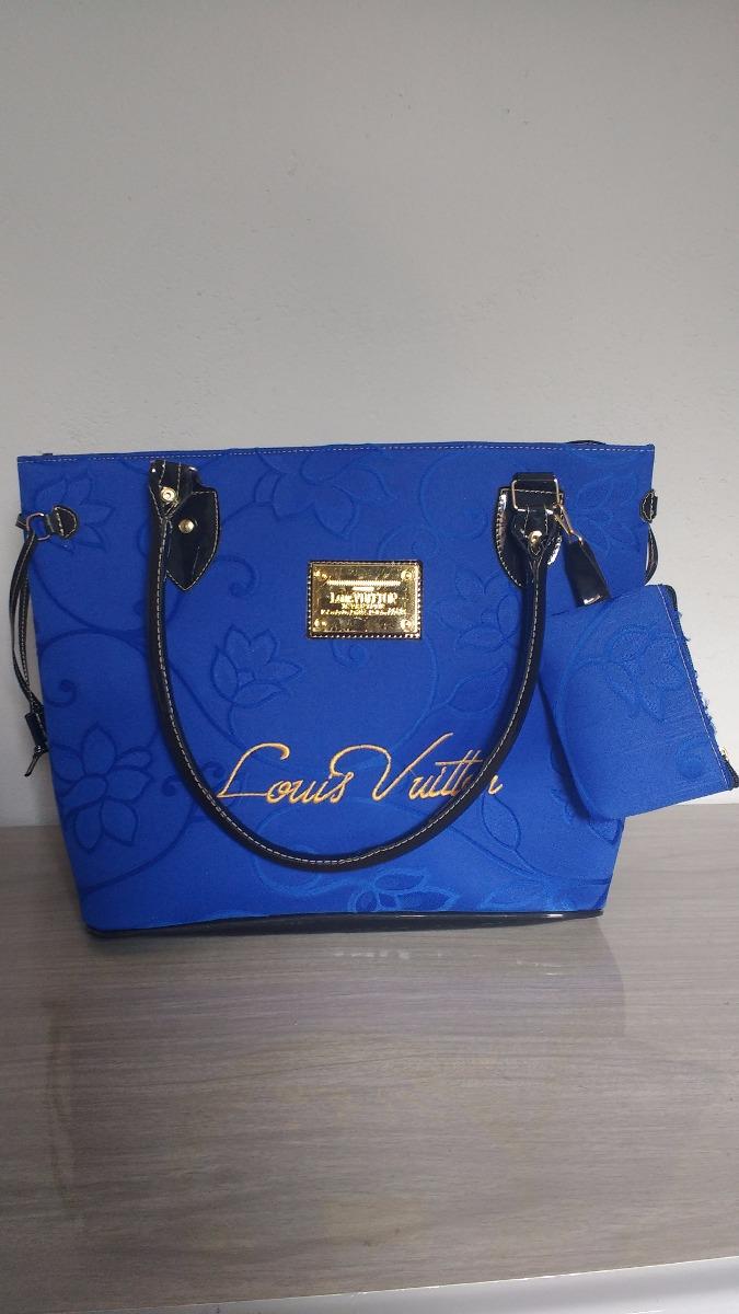 c1da64134 Bolsa Feminina Louis Vuitton Azul Com Zíper E Forrada. - R$ 79,99 em ...