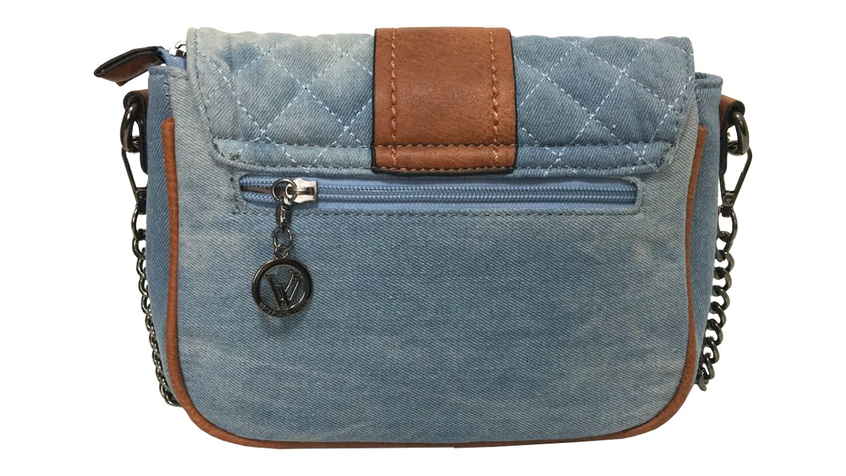 Bolsa Feminina Pequena Transversal : Bolsa feminina pequena jeans com couro sint?tico