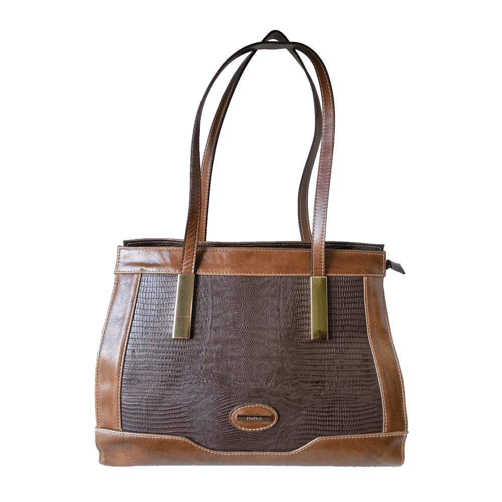e0d944d89 bolsa feminina poucelle em couro café / caramelo - 2393. Carregando zoom.