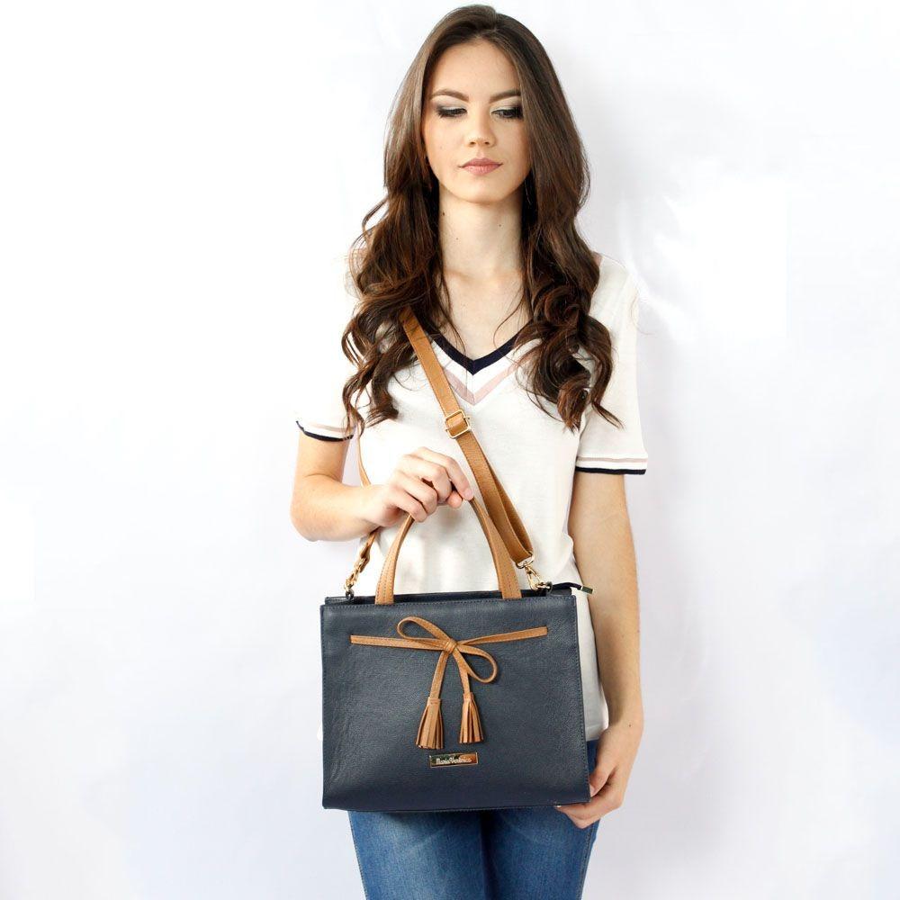 0caa2c222 bolsa feminina quadrada laço couro legítimo cor azul/marrom. Carregando  zoom.