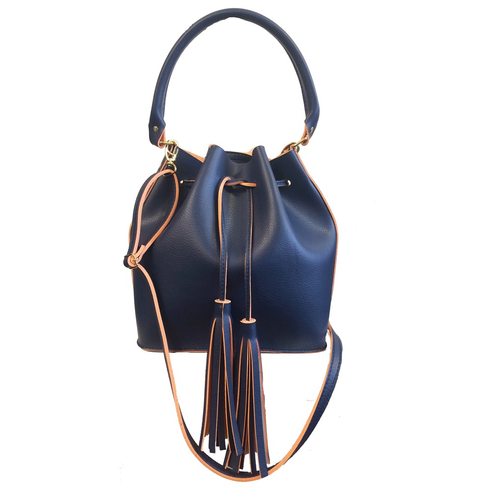 222b9c690 bolsa feminina saco em couro sintético transversal azul. Carregando zoom.
