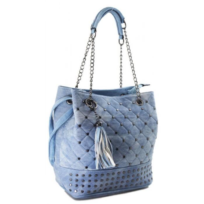 28ed7e433 Bolsa Feminina Saco Jeans Azul Alça Corrente Franja Barata - R$ 79 ...