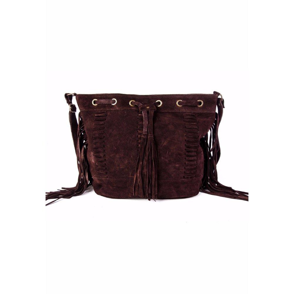 357f5c5ff bolsa feminina saco tiracolo trissê com franja marrom café. Carregando zoom.
