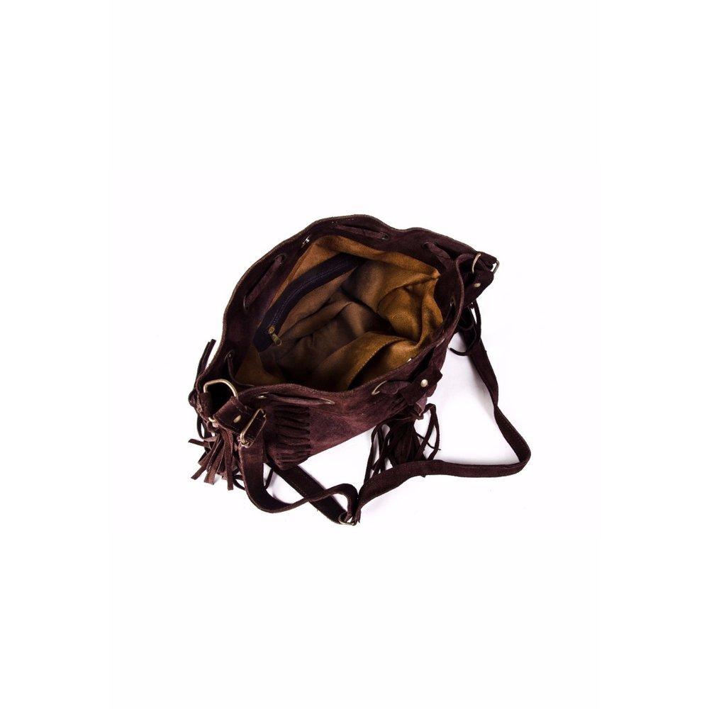 c6763417a bolsa feminina saco tiracolo trissê com franja marrom café. Carregando zoom.