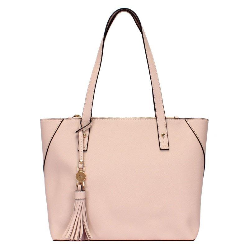 de954c3e2 bolsa feminina shopping grande na cor nude com chaveiro wj. Carregando zoom.