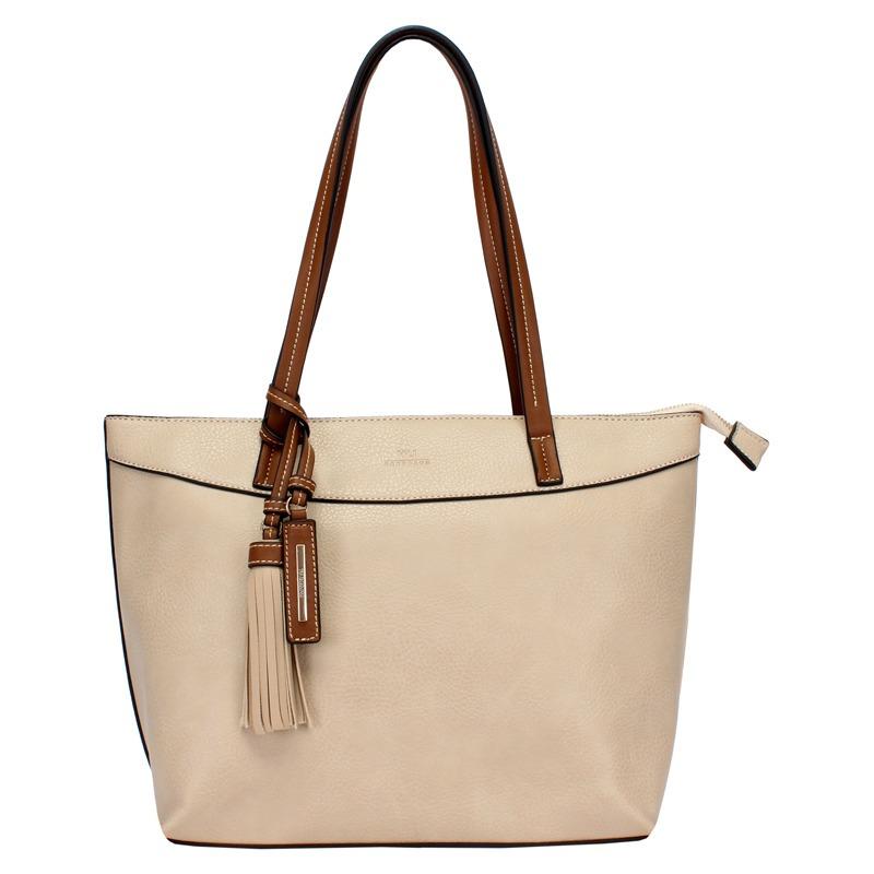 cc83cb925 bolsa feminina shopping na cor bege com fecho em ziper wj. Carregando zoom.