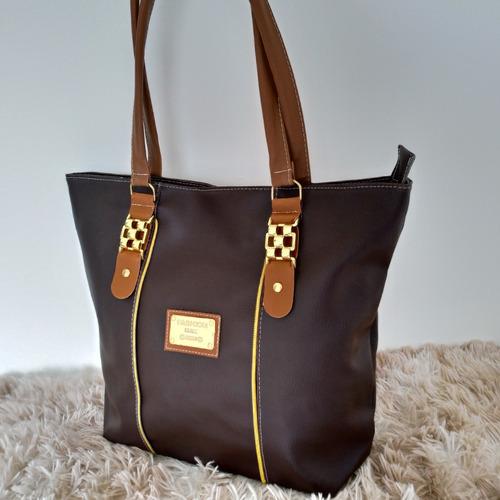 bolsa feminina super promoção marrom escuro couro sintético