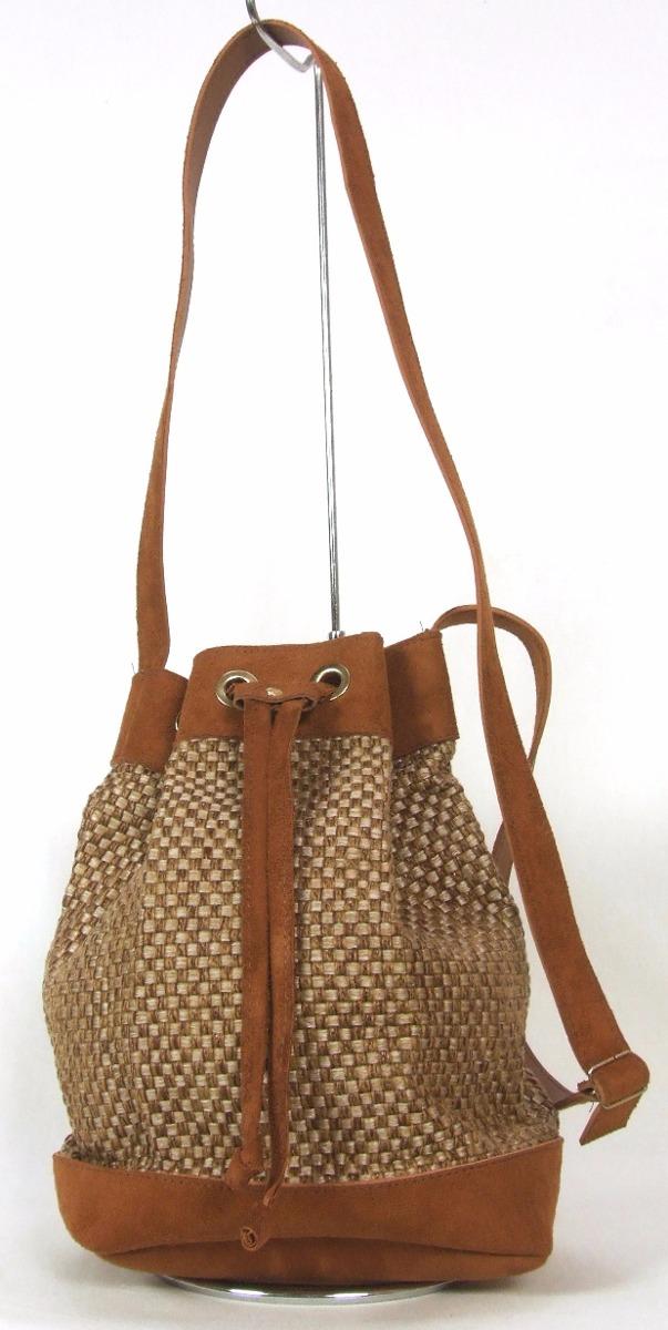 Bolsa De Tecido Com Alça De Bambu : Bolsa feminina em couro e tecido modelo saco com al?a