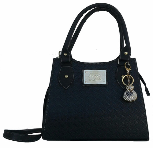 Bolsa Feminina Couro Preta : Bolsa feminina tiracolo quadrada preta transversal couro